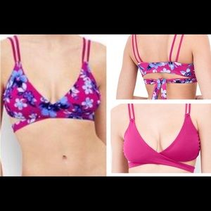 Lands' End Swim - Land's End | reversible pink floral bikini top new